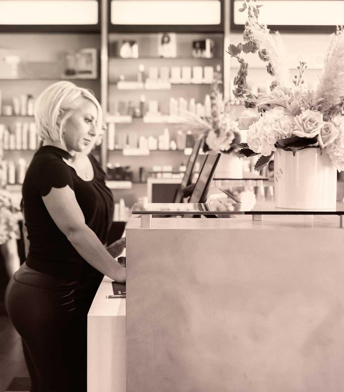Front desk at The Beauty District, Naples Hair Salon